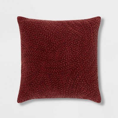Square Quilted Botanical Washed Velvet Pillow Berry - Threshold™