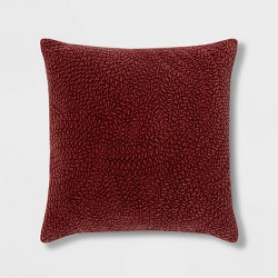 Quilted Botanical Washed Velvet Square Pillow - Threshold™