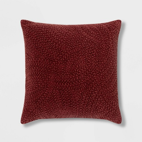 Quilted Botanical Washed Velvet Square Pillow - Threshold™ - image 1 of 3
