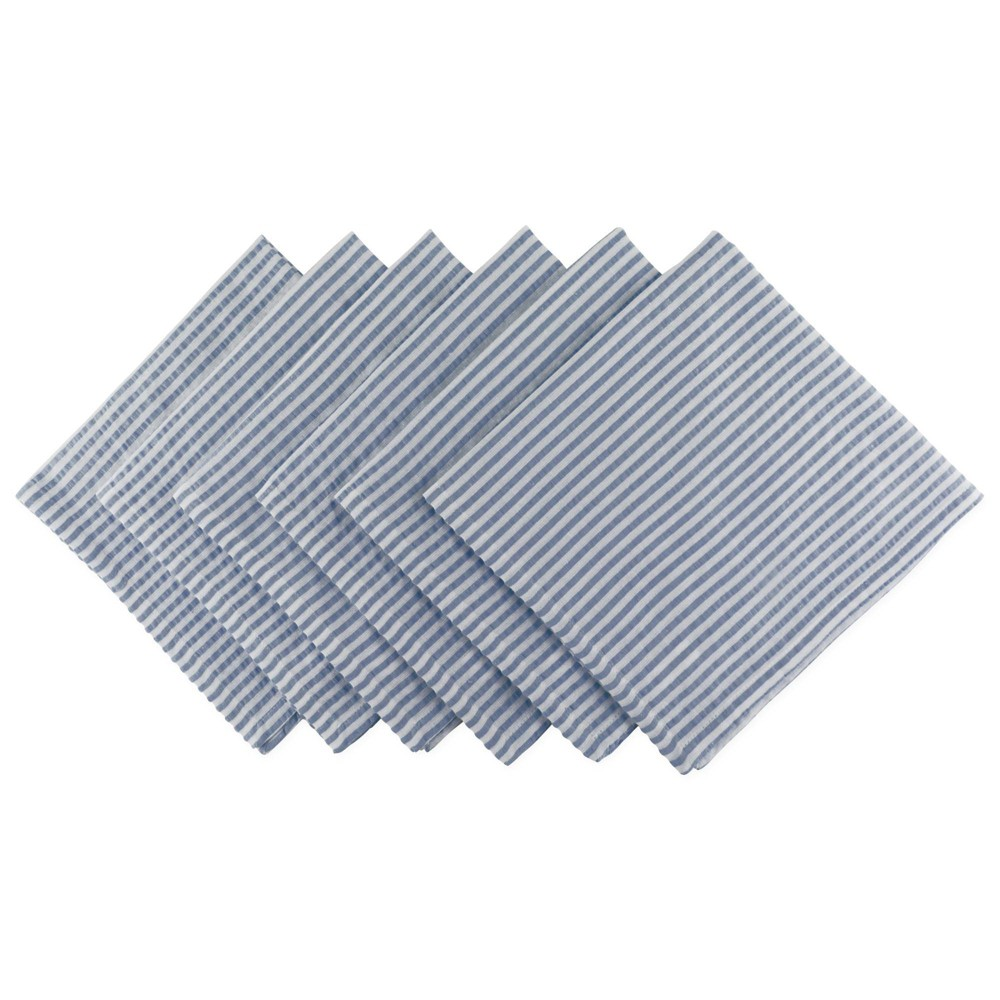 Image of 6pk Cotton Seersucker Napkins Blue - Design Imports