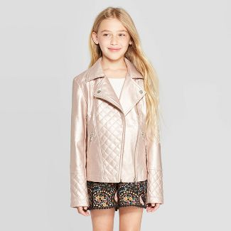 Girls' Metallic Moto Jacket - art class™ Blush Pink XS