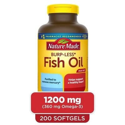 Nature Made Burp - Less Fish Oil 1200 mg Softgels - 200ct