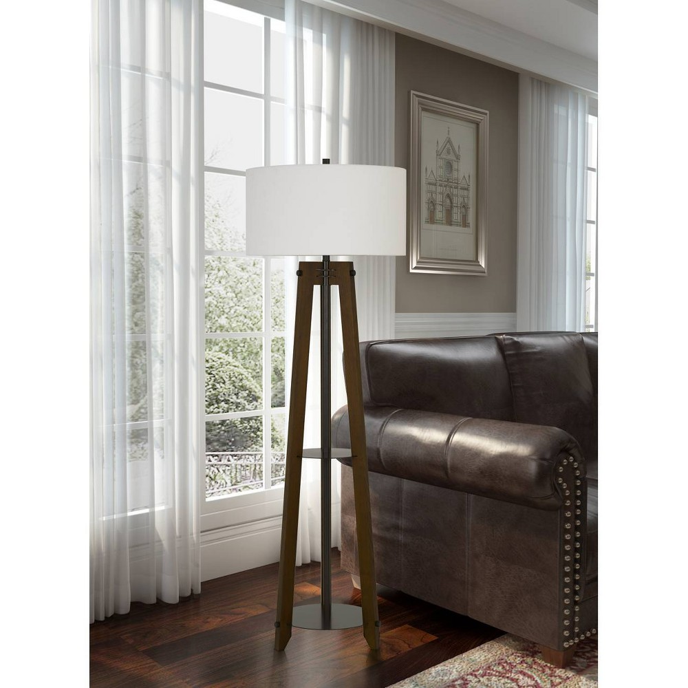 Image of 150W 3 Way Bilzen Ash Wood Tripod Floor Lamp Walnut - Cal Lighting