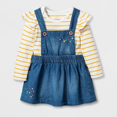 Baby Girls' 2pc Denim Skirtall Set - Cat & Jack™ Orange Wash 0-3M