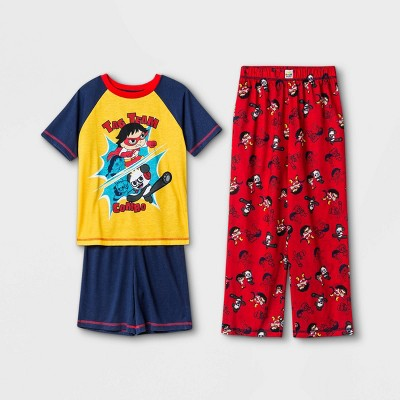 Boys' Ryan's World Ninja 3pc Pajama Set - Blue/Red