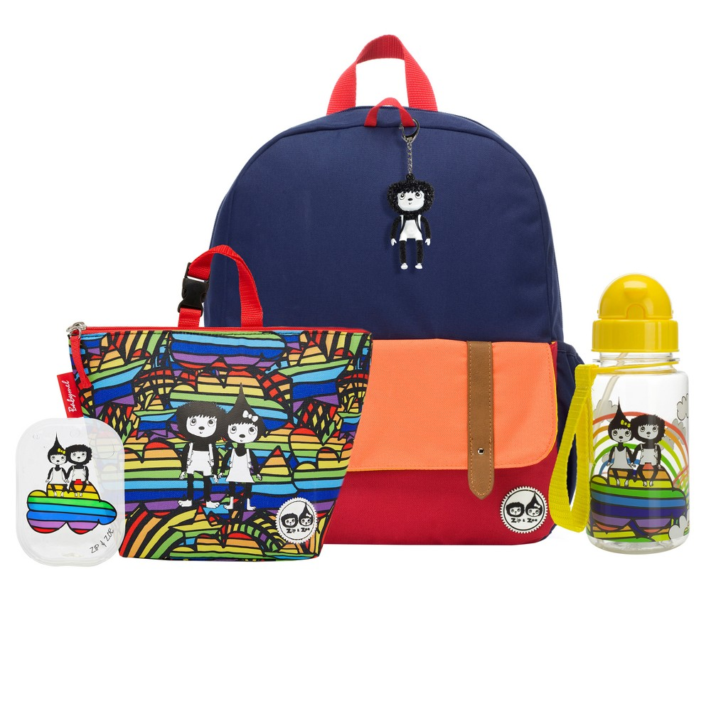 """Image of """"Zip & Zoe Junior 15"""""""" Kids' Backpack with Lunch Bag and Water Bottle - Navy Color Block/Rainbow, Kids Unisex, Size: Small, Blue"""""""