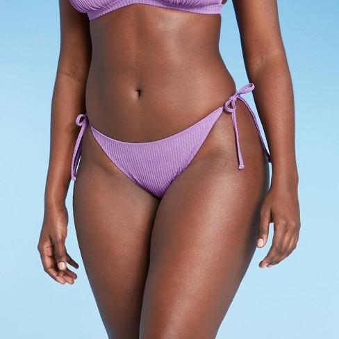 Juniors' Metallic Ribbed Cheeky String Bikini Bottom - Xhilaration™ Orchid - image 1 of 4