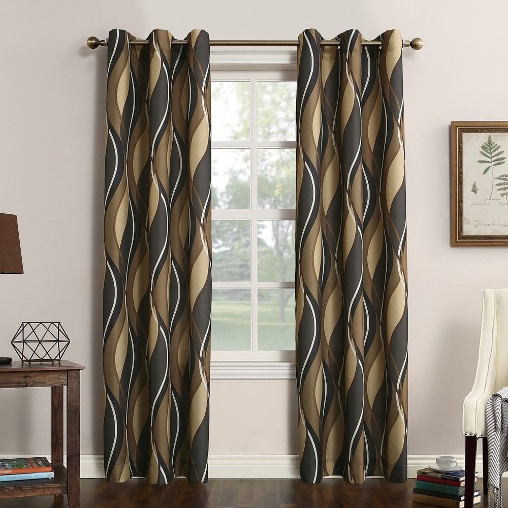 Intersect Wave Print Casual Textured Grommet Curtain Panel Charcoal (Grey) 48