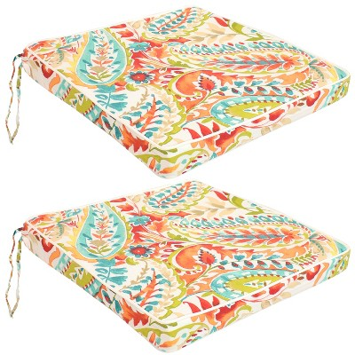 """Sunnydaze Square Indoor/Outdoor Seat Cushions with Ties - 17"""" Square x 2"""" Thick - 2-Pack"""