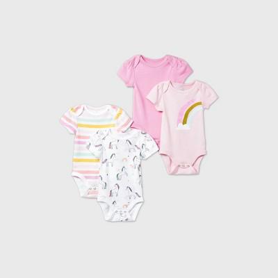Baby Girls' 4pk Unicorn Adventure Short Sleeve Bodysuit - Cloud Island™ Pink 3-6M