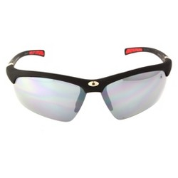 Men's Ironman Impact Resistant Semi-Rimless Wrap Sunglasses - Black