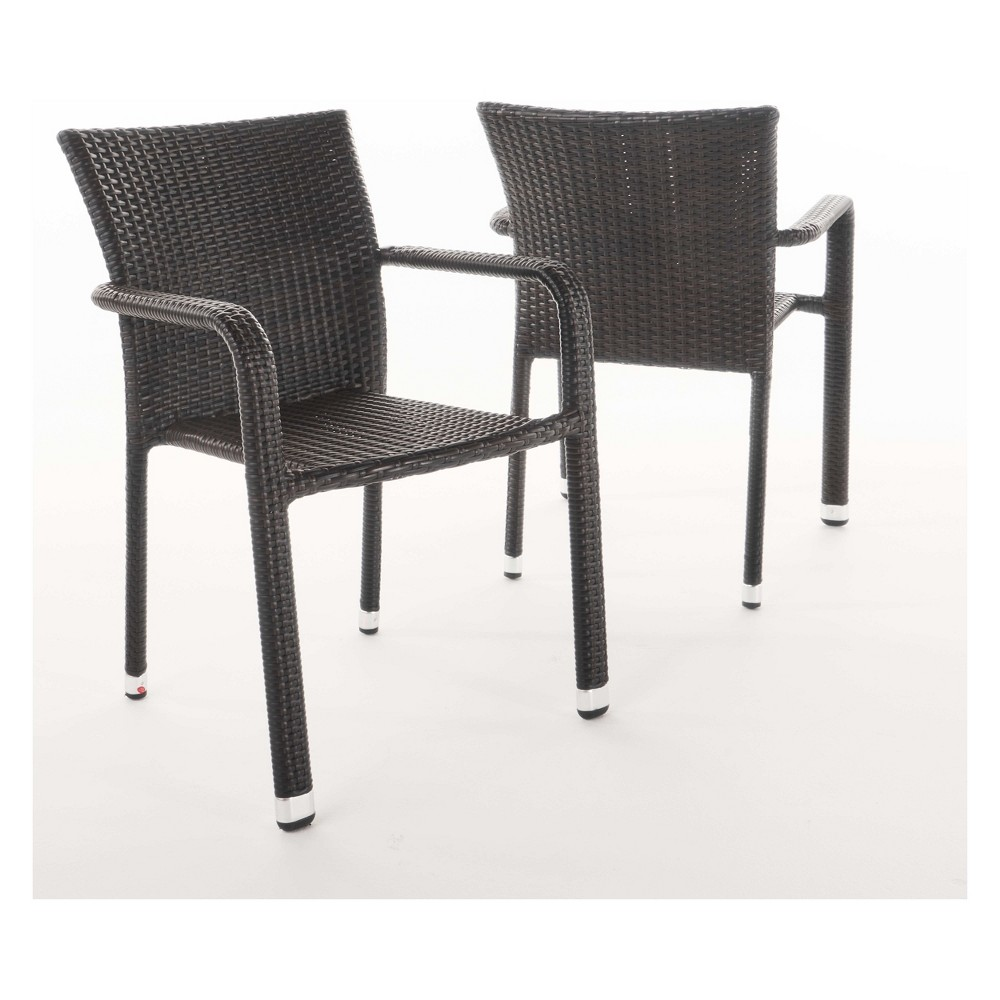 Dover 2pk Wicker Armed Stacking Chairs Christopher Knight Home