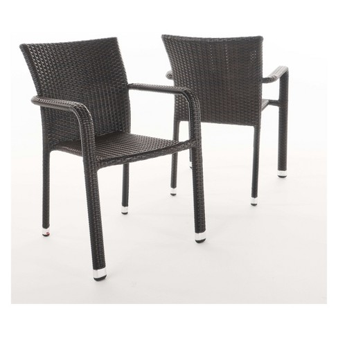 Dover 2pk Wicker Armed Stacking Chairs - Christopher Knight Home - image 1 of 4