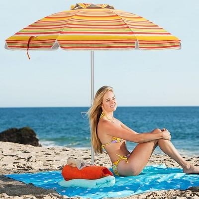 Costway 6.5FT Patio Beach Umbrella Sun Shade Tilt Carry Bag