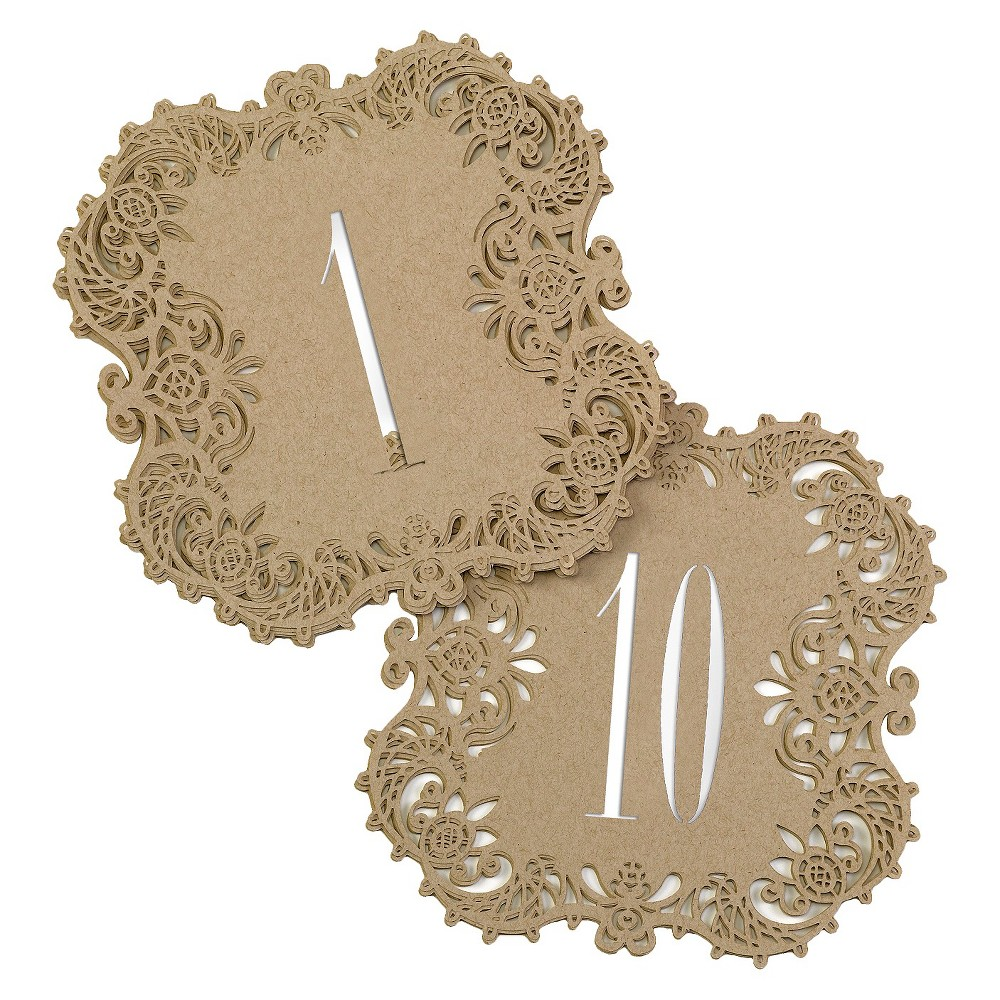 "Image of """"""1-10"""" Laser Cut Table Number Cards Caramel"""