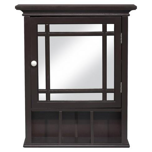 Neal Wall Medicine Cabinet Dark Espresso Elegant Home Fashions