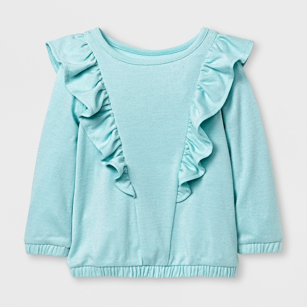 Toddler Girls' Long Sleeve Ruffle Top - Cat & Jack Bleached Aqua 4T