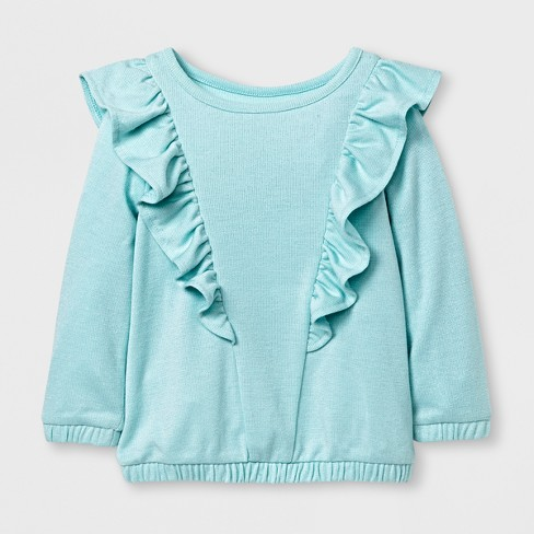 Toddler Girls' Long Sleeve Ruffle Top - Cat & Jack™ Bleached Aqua 12M - image 1 of 1