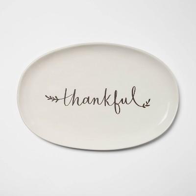 16  x 10  Stoneware Thankful Oval Serving Platter White - Threshold™