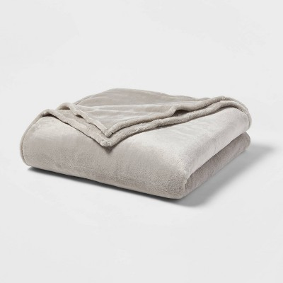 Full/Queen Microplush Bed Blanket Gray - Threshold™
