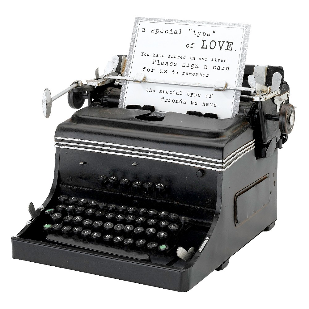 1945 Mini Typewriter Replica, Black Perfect for wedding receptions, anniversary parties, birthday parties or everyday display, the 1945 Mini Typewriter Replica from Lillian Rose brings vintage-inspired style to any space or occasion. This typewriter decoration is designed to hold cards, quotes, pictures and signs — simply place it where your guests will see it. Color: Black.
