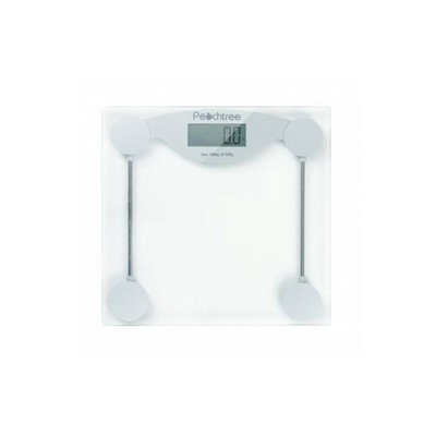 Elegant Tempered Glass Digital Scale Silver/Clear - Peachtree
