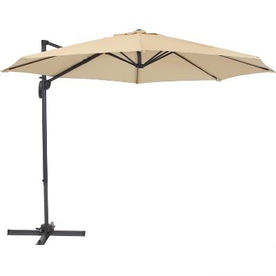 Offset Cantilever Patio Umbrella with 360-Degree Rotation - Beige - Sunnydaze Decor