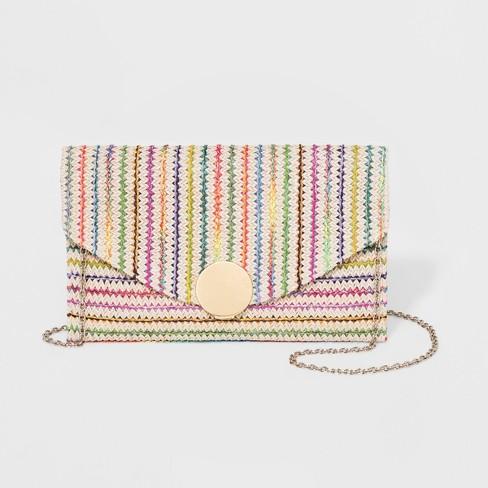 622b7629020e4d Michael Kors Michl Kors Santorini Medium Raffia Clutch Bag Luggage ... Stay  in the Know! raffia clutch. Estee & Lilly Striped Raffia Clutch