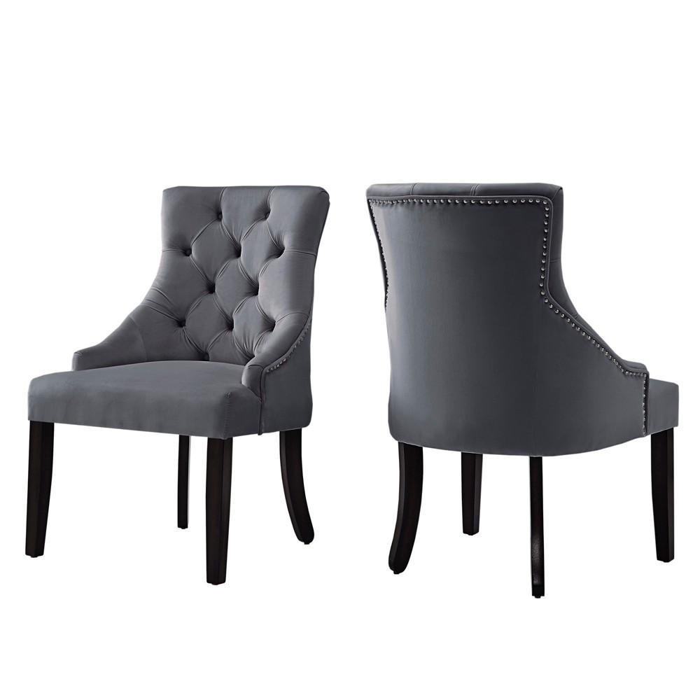 Lawler Velvet Button Tufted Dining Chair Set of 2 Dark Gray - Inspire Q