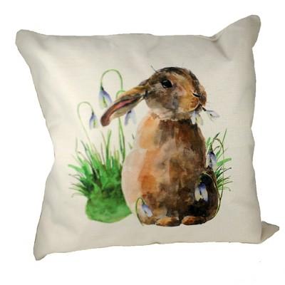 "Home Decor 20.0"" Bunny Cottage Pilloe Easter Grass Flowers  -  Decorative Pillow"