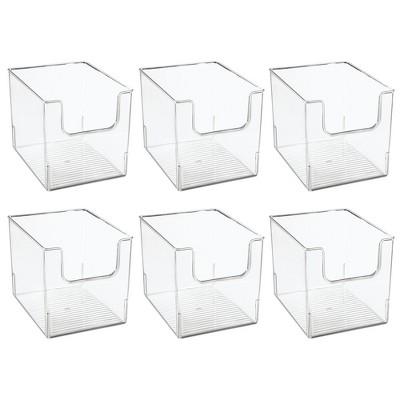"mDesign Plastic Food Storage Organizer Bin for Kitchen, 8"" Wide, 6 Pack - Clear"