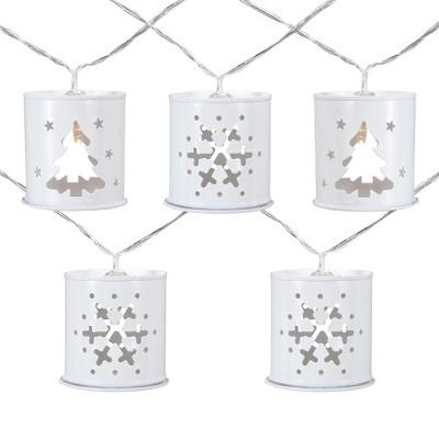 Northlight 10 B/O LED Warm White Metal Lantern Christmas Lights - 6.25' Clear Wire
