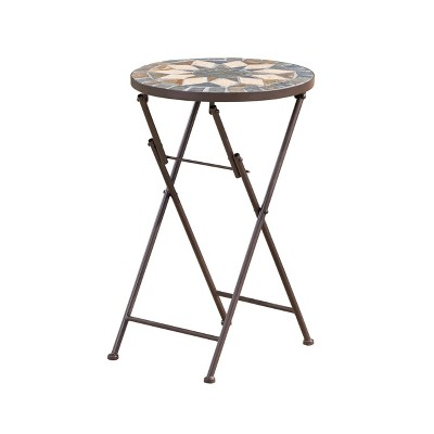 Silvester Stone Side Table - Beige/Black - Christopher Knight Home