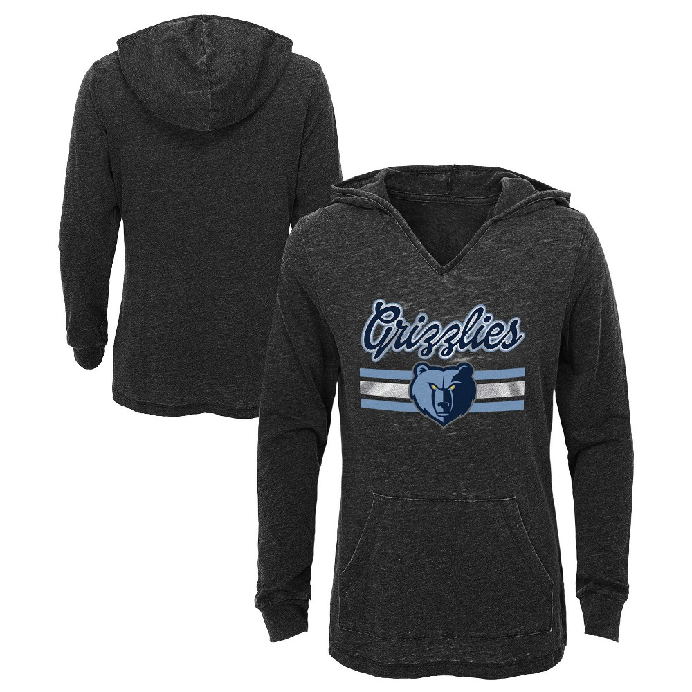 Memphis Grizzlies Girls' Top of the Key Gray Burnout Hoodie S, Multicolored