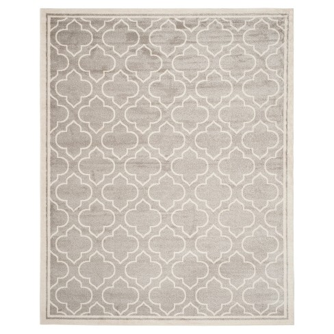 Indoor Outdoor Rug Light Gray Ivory