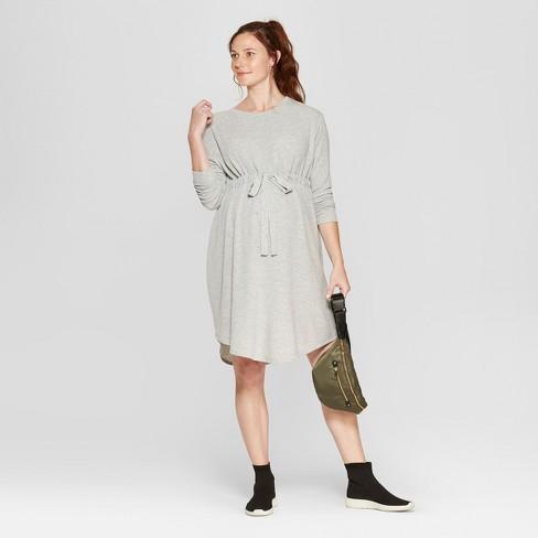 24bf2883b40 Maternity Tie Waist Sweatshirt Dress - Isabel Maternity by Ingrid   Isabel™  Light Heather Gray