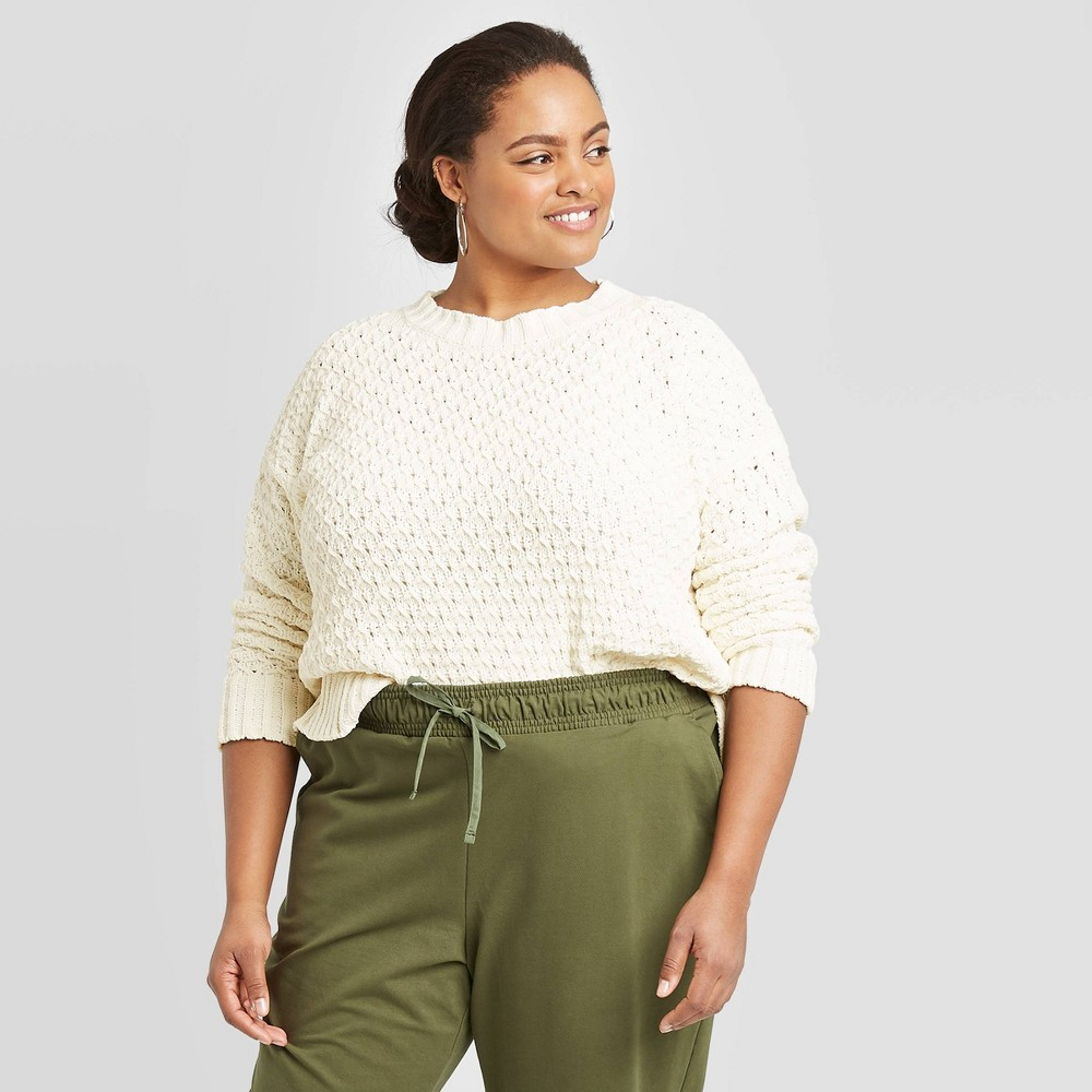 Women's Plus Size Crewneck Textured Pullover Sweater - A New Day Cream 1X, Women's, Size: 1XL, Ivory was $29.99 now $20.99 (30.0% off)