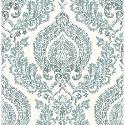 NuWallpaper Kensington Damask Blue Peel & Stick Wallpaper