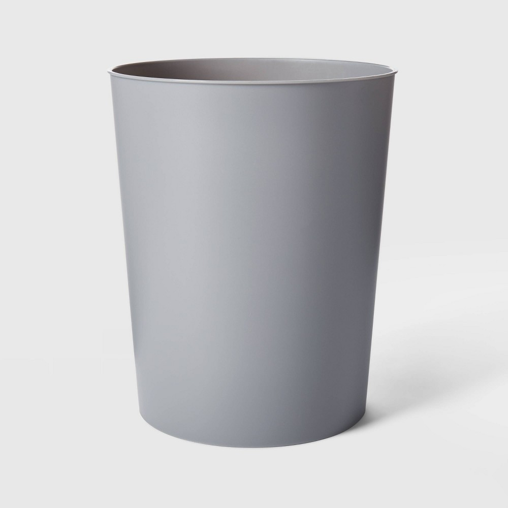Image of Solid Bathroom Wastebasket Gray - Room Essentials
