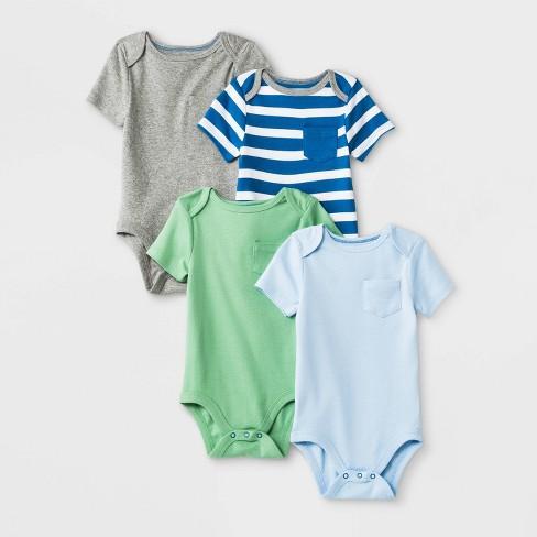 Baby Boys' 4pk Short Sleeve Bodysuit - Cloud Island™ - image 1 of 1