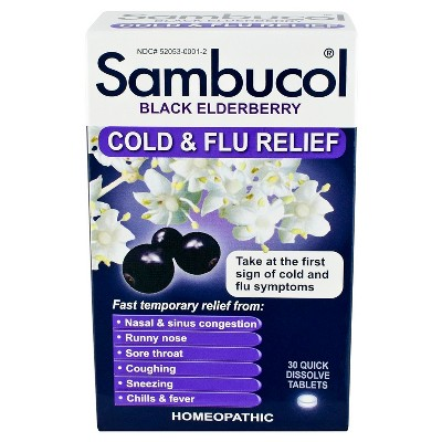 Cold & Flu: Sambucol Black Elderberry Cold & Flu Relief Quick Dissolve Tablets