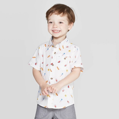 Toddler Boys' Short Sleeve Slub Poplin Novelty Print Button-Down Shirt - Cat & Jack™ White - image 1 of 7