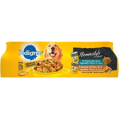 Pedigree Homestyle Meals In Gravy Prime Rib & Roasted Chicken Wet Dog Food - 13.2oz/12ct Variety Pack