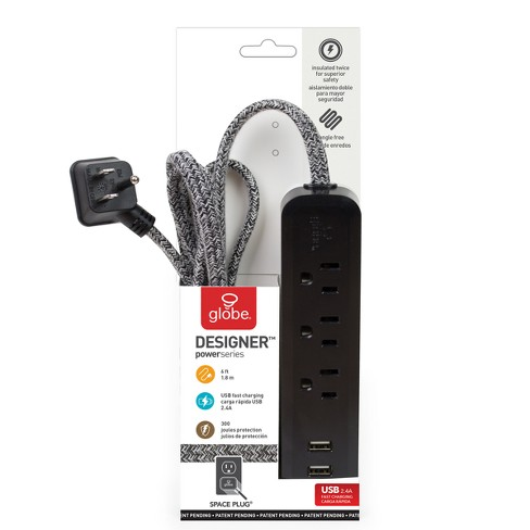 Power Strips Globe Electric Black - image 1 of 2