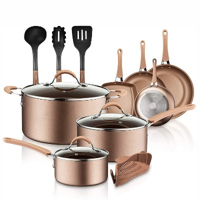 NutriChef Metallic Nonstick Ceramic Cooking Kitchen Cookware Pots and Pan Set with Lids, Utensils, and Cool Touch Handle Grips 14 Piece Set, Bronze