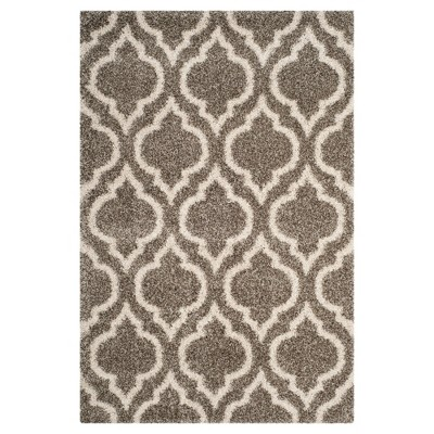 Gray/Ivory Geometric Shag and Flokati Loomed Area Rug 6'X9' - Safavieh