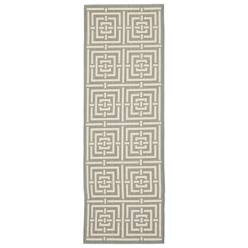 2'3 x 22' Cagliari Outdoor Rug Gray/Cream (Gray/Ivory) - Safavieh