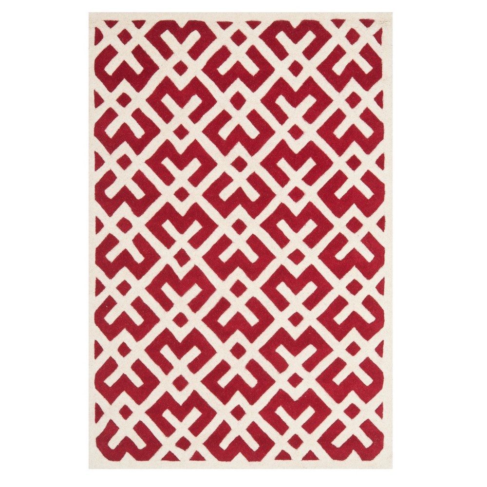 Red/Ivory Geometric Tufted Area Rug 8'X10' - Safavieh