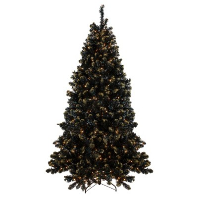 Northlight 7.5' Prelit Artificial Christmas Tree LED Black Crystal Pine with Gold Glitter - Clear Lights