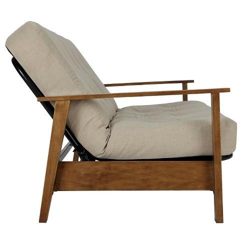 Bari Natural Wood Arm Futon With 6 Coil Tan Linen Mattress Room Joy Target